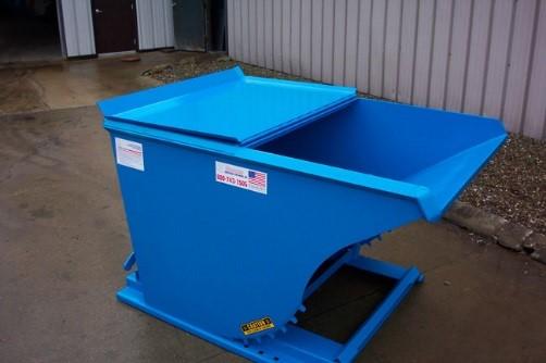self-dumping hopper lid open