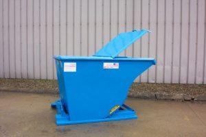 self-dumping hopper side view lid open